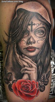 Catrinas tatuajes para hombres - Santa muerte tatouage signification ...