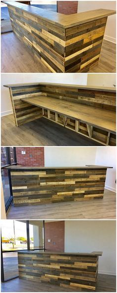 Let's check out this interesting wood pallet creative idea of counter table and the use of awesome textured pattern work all into it. It is overall looking so innovative because of the composition of the pallet wood use being dramatically added inside it. Did you find it interesting?