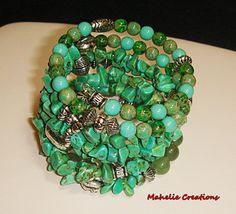 Chunky turquoise green bracelet big bold by MahelieCreations, $13.00