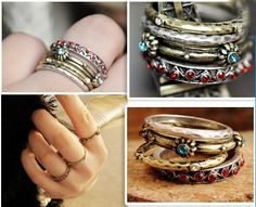 Checkout this amazing product SODIAL(TM) Bring You Good Luck-Cool Man-made Color Retro Vintage Antique Style 4 in 1 Diamond Rings Set at Shopintoit