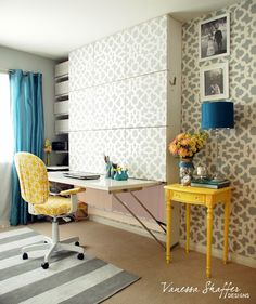 Cutting Edge Stencils shares a DIY stenciled accent wall using the Zamira Stencil in a small office/guest bedroom