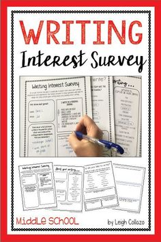 This is a companion to my popular Reading Interest Survey, which I designed to complement Donalyn Miller's The Book Whisperer. It contains 16 questions that enable students to explore and discuss their writing preferences and areas for improvement. 7th Grade Writing, Middle School Writing, Middle School English, Reading Interest Survey, Reading Survey, Writing Area, Writing Prompts, Writing Tips, Project Based Learning