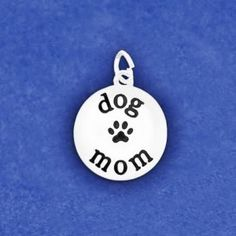 Dog Mom Charm Sterling Silver Plt Pendant Paw Print Handmade Jewelry Necklace Bracelet Earrings Gift Options Puppy Mother Adopt Rescue Lover