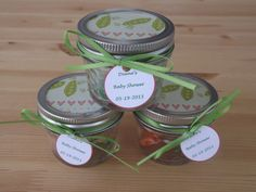 Set of 12- 4oz. Mason Jar Favors- Baby Shower Jar Favors- Personalized Baby Shower Favors- Peas in a Pod Favors
