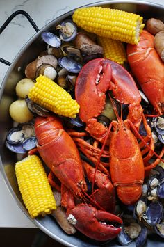 Maine Lobster Boil 28 Of The Most Delicious Ways To Eat Lobster Lobster Boil, Seafood Boil, Seafood Dishes, Fish And Seafood, Lobster Dinner, Seafood Platter, Lobster Bake Party, Lobster Stew, Lobster Fest