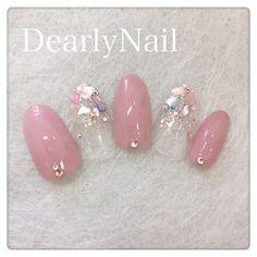 ネイル ネイル in 2019 So Nails, Pink Nails, Cute Nails, Stylish Nails, Trendy Nails, Japan Nail Art, Korean Nail Art, Kawaii Nails, Japanese Nails