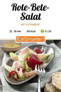Figurbewusst genießen: Rote-Bete-Salat mit Putenbrust - und Senf-Vinaigrette - kalorienarm - schnelles Rezept - einfaches Gericht - So gesund ist das Rezept: 9,0/10 | Eine Rezeptidee von EAT SMARTER | Erhöhter Cholesterinspiegel, Gesunde Galle, Herzbeschwerden, Kinderwunsch, Magenbeschwerden, Stillzeit, Stress, Wechseljahre, Halbzeit-Rezepte, 10-Minuten-Rezepte, für 2 Personen, Pute, Gemüse, Wurzelgemüse, Salat, Geflügelsalat, Gemüsesalat #rotebetesalat #gesunderezepte Eat Smarter, Cantaloupe, Beef, Fruit, Cooking, Food, Diet Snacks, Meat, Kitchen