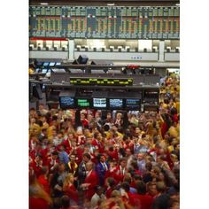 Business executives on trading floor Chicago Mercantile Exchange Chicago Cook County Illinois USA Canvas Art - Panoramic Images (36 x 12)