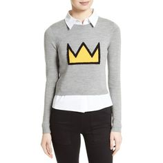Women's Alice + Olivia Nikia Layered Look Crown Sweater ($237) ❤ liked on Polyvore featuring tops, sweaters, layered tops, double layer top, sleeveless tops, sleeveless sweater and shirt sweater