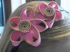 Zipper Flower Headband by SiennaSews on Etsy, $9.98