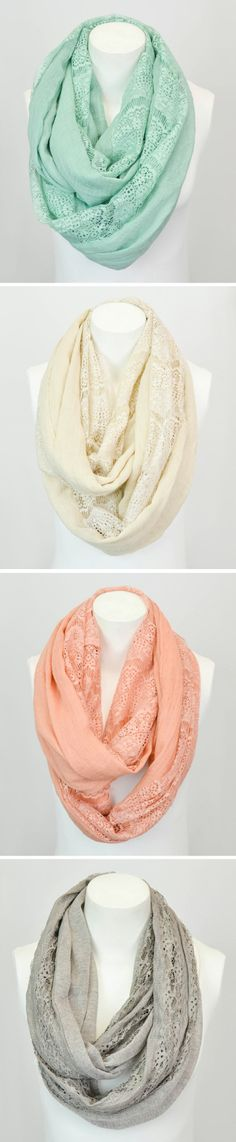 Casey: Any of these pastel scarves would work. The blue or pink would look great with Averys hair. New Outfits, Cute Outfits, Fashion Outfits, Womens Fashion, Look Fashion, Fashion Beauty, Cute Scarfs, Lace Scarf, Womens Scarves