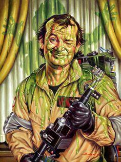 Slimed: Ghostbusters Art by Jason Edmiston - Peter Venkman, Bill Murray, Slimer Beetlejuice, Frankenstein, Jason Edmiston, Die Geisterjäger, Ghostbusters 1984, Original Ghostbusters, Drawn Art, Ghost Busters, Movie Posters