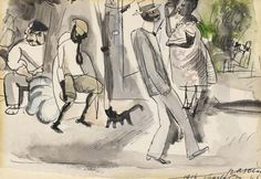 Jules Pascin - Figures and Cat in Park