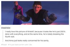 Brady Sauer - hahaa thats why i like kristoff hahaa deshalb mag ich Kristoff Disney Jokes, Funny Disney Memes, Disney Facts, Funny Relatable Memes, Disney Cartoons, Disney Marvel, Disney And Dreamworks, Disney Pixar, Fandoms