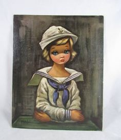 Items similar to Sailor Girl Eden Print Big Eye Child Vintage Mod 14 x 11 Inches on Etsy Margaret Keane, Sad Eyes, Black Oil, Fashion Prints, Vintage Art, Amazing Art, Sailor, Art Prints, Retro