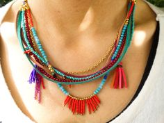Boho necklace boho jewelry hippie jewelry ethnic by Handemadeit, $27.90