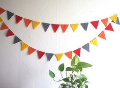 Bunting Garland with colorful felt flags - Kids Birthday Party Decoration, Childrens Room Decor, Thanksgiving decor, Photo Booth Prop. $15.00, via Etsy.