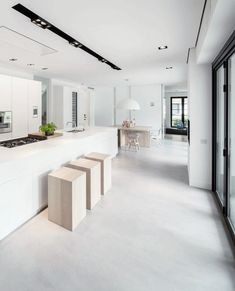 White kitchen with chunky wood stools