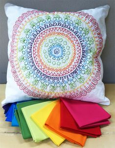 Rainbow Cartouche Embroidery Pillow
