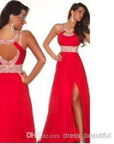 Wholesale Prom Dresses - Buy 2014 Dazzing Crystal Prom Dress Long Red Chiffon Beads Front/Side-slit Evening Prom Bridesmaid Dresses Prom Ball Gown, $106.82 | DHgate