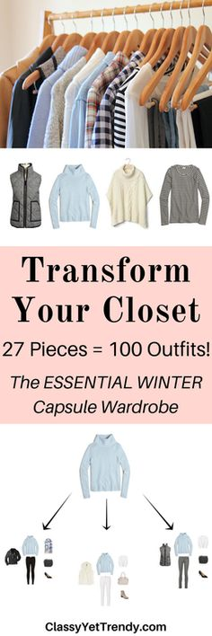 The Essential Capsule Wardrobe: Winter 2017 Collection - includes chambray shirt, plaid shirt, sweater poncho, camel coat, cardigan, faux fur vest, striped top, puffer vest, leather jacket, gingham shirt, black leggings, white jeans, gray jeans, skinny jeans, blue jeans, black jeans, Hunter boots, black pumps, taupe booties ankle boots and riding boots.