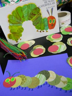 visual, shape, design and visual texture tie in with art forms and seasons along with life cycle lesson: We celebrated Hungry Caterpillar Day and the 1st day of Spring with Eric Carle's artwork as our inspiration.......circle cut tons of old scrapbooking paper for the kiddos to paste down.....fun!
