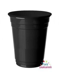 Siyah Plastik Büyük Lüks Bardak (8 Adet)