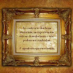 Experiências e aventuras vividas continuam para sempre onde estão. Ninguém pode tirá-las de você.  Nossos pais não tinham a chance de viajar tanto nem de ir a lugares tão distantes como nós temos hoje. Eles não tinham a possibilidade de se divertir como fazemos agora. Não tiveram tantas chances de abrir um negócio próprio por isso investiram em bens móveis e imóveis mas nós não precisamos seguir seus passos nesse sentido.  fb.com/avidaquer  #agentenaoquersocomida #avidaquer @avidaquer por…
