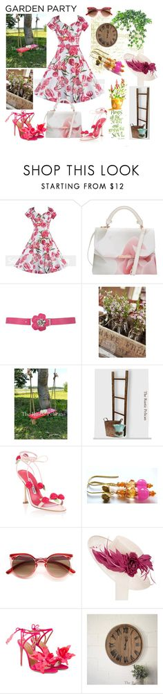 """""""Garden Party"""" by belladonnasjoy ❤ liked on Polyvore featuring Ted Baker, Manolo Blahnik, John Lewis, Aquazzura and vintage"""