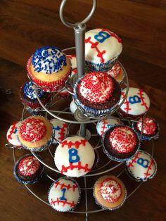 1st birthday baseball party cupcakes