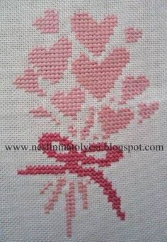 Valentine heart bouquet cross stitch.