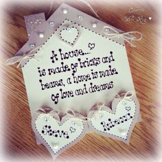 Handmade house shape plaque with family names in wooden hearts, the perfect new home gift #firsthome  Www.facebook.com/craftedwithkim