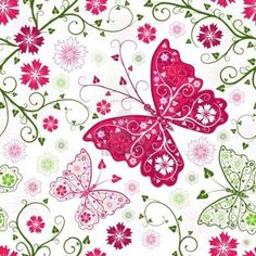 Seamless floral white pattern with butterfly by OlgaDrozd - Imagen vectorial Pretty Patterns, White Patterns, Flower Patterns, Decoupage Vintage, Decoupage Paper, Butterfly Pattern, Butterfly Art, Butterfly Project, Paper Butterflies