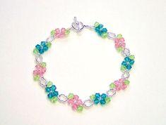 Pulsera flor rosa y azul flores pulsera por AquaStudioDesigns