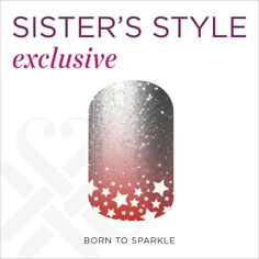 The new June Sister's Style exclusive was just released and it is to DIE FOR!! #nailart #nails #manicure  Inspired by glimmering, shimmering stars, these are a funky take on night sky incorporating glamorous red glitter flecks & silver ombre shimmer. Brand new Sparkle Design nail wraps includes ombre, graphics, & sparkle elements! There's more than one design on each sheet!  Get yours here before they are gone ----> http://marcyturner.jamberrynails.net/home/ProductDetail.aspx?id=2356