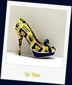 """Go Blue"" University of Michigan platform pumps"
