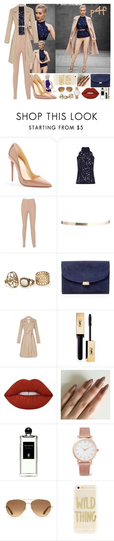 """Passion 4Fashion: Navy&Nude"" by shygurl1 ❤ liked on Polyvore featuring Christian Louboutin, ASOS, Mansur Gavriel, Giles, Lime Crime, Serge Lutens, Larsson & Jennings, Stella & Dot and Sonix"