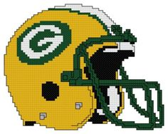 Counted Cross Stitch Pattern, Green Bay Packers Helmet - Free US Shipping Just Cross Stitch, Cross Stitch Needles, Cross Stitch Fabric, Cross Stitch Kits, Counted Cross Stitch Patterns, Cross Stitch Designs, Cross Stitching, Green Bay Packers Colors, Green Bay Packers Helmet