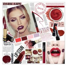 """""""LIP STAIN"""" by rinagq ❤ liked on Polyvore featuring beauty, Topshop, GALA, NARS Cosmetics, Hourglass Cosmetics, Avon, TheBalm and Clarins"""