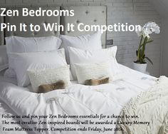 Win a Luxury Memory Foam Mattress Topper! Enter the Zen Bedrooms Pin It to Win It #Contest today.  Details found here: http://zenbedrooms.com/blog/index.php/pin-it-to-win-it-competition/
