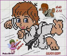 Ângela Bordados: Para quem amam academia e esportes, aqui vai alguns gráficos ponto cruz para personalizar suas toalhinhas... Tiny Cross Stitch, Cross Stitch Bookmarks, Cross Stitch Charts, Cross Stitching, Cross Stitch Embroidery, Funny Cross Stitch Patterns, Cute Characters, Crochet Blanket Patterns, Art Sketchbook