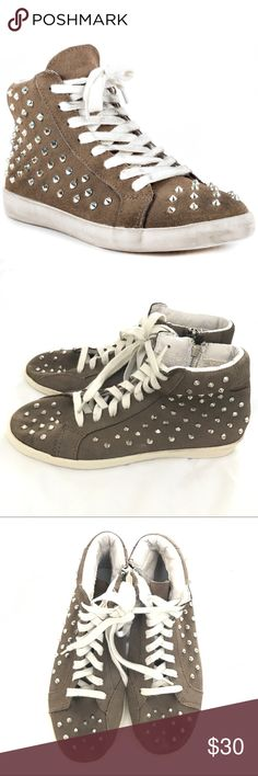 Steve Madden Twynkle Taupe Suede Studded High Tops Ignite your style with the Twynkle by Steve Madden. This grunge inspired style features a worn in and distressed taupe suede upper with decorative studs. A lace up vamp and 1 inch dinged rubber sole completes this trendy look.  In good, pre-owned condition. Minor wear at soles, insoles, and laces. Bundle to save 20% on your purchase and I love offers!🎉😃🎉  Leather Upper, Lace front, Zip sides Man Made Sole Made In China This Shoe Fits True…