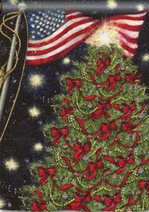 decorative christmas flag with christmas tree adorned with red ribbons plus beautiful usa american flag - Decorative Christmas Flags