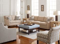 This is all about effortless elegance , my large Brayden sofa is super comfy and the armless Chatfield chair take a patterned fabric really well. The taylor ottoman is a workhorse in any family room!