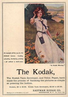 "White Sailor Dress, blue tie and belt, short sleeve, button bodice, skinny shoulder strap mini bag - Kodak Camera and Tank Developer Advertisement ""A Kodak Morning"" circa 1906 - photo courtesy of Library of Congress"