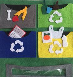 Aprender a reciclar. Medioambiente. Aprendizaje de habilidades de la vida diaria y valores ecológicos. Quietbook/Libro sensorial by Arte Sano KIDS. Juguetes sensoriales y educativos hechos a mano. Visita nuestra página de Facebook: Arte Sano KIDS. Instagram: @artesanokids
