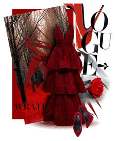 """""""Red Fury"""" by saraihe ❤ liked on Polyvore featuring Marchesa and Giuseppe Zanotti"""