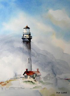 "Foggy Point (Pigeon Point Lighthouse) Watercolor 22"" x 30"" by Dick Zunkel"