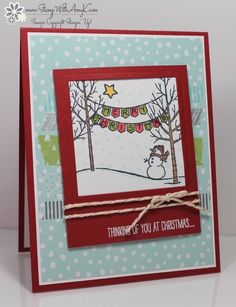 White Christmas Banner Card by - Cards and Paper Crafts at Splitcoaststampers Christmas Cards 2018, Stamped Christmas Cards, Christmas Card Crafts, Christmas Banners, Christmas Mom, Xmas Cards, Handmade Christmas, White Christmas, Holiday Cards