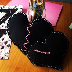 Monster high pillows, zombie pillows made from black tee. Monster high inspired, birthday, party, decorations